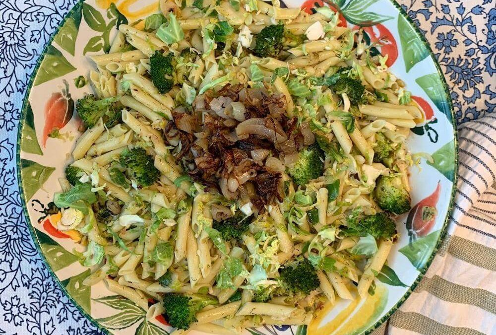 Broccoli And Brussels Sprouts Penne With Crispy Fried Shallots
