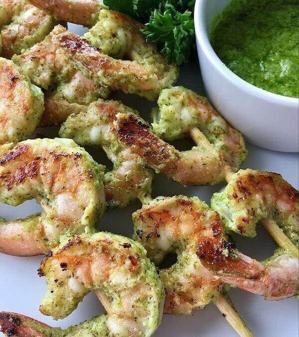 Lime Pesto Grilled Shrimp Skewers