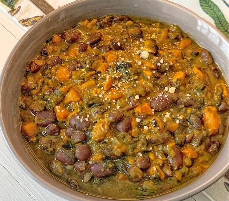 Pinto Bean, Sweet Potato, and Spinach Soup